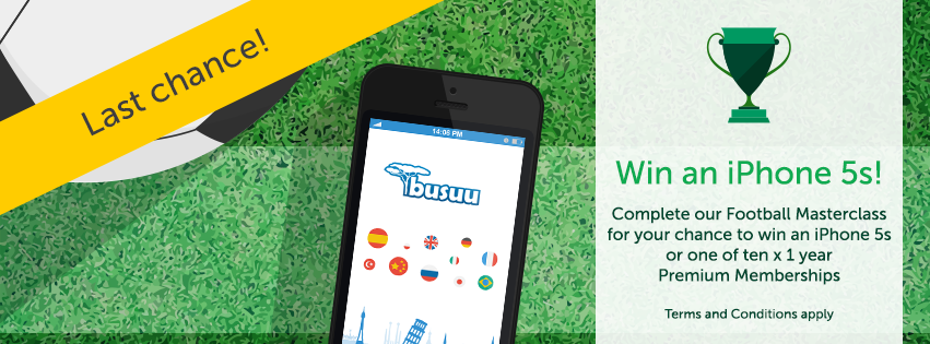 football masterclass, win an iPhone 5s, language learning