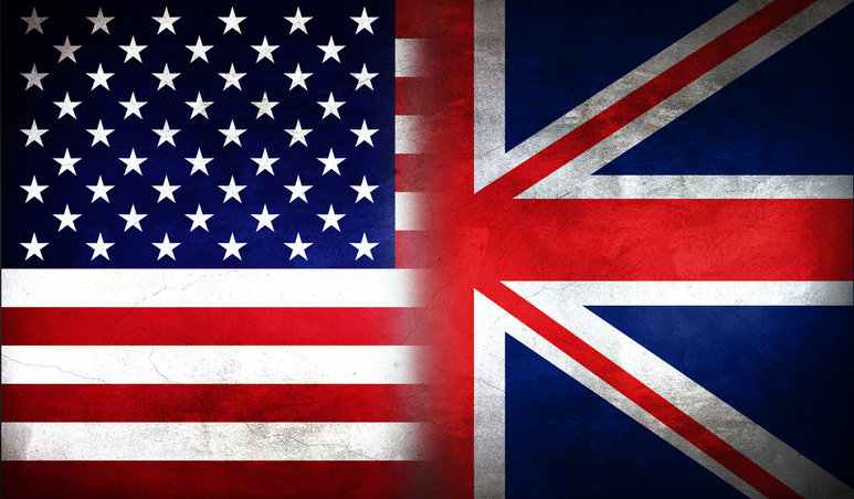 United States of America and United Kingdom flag